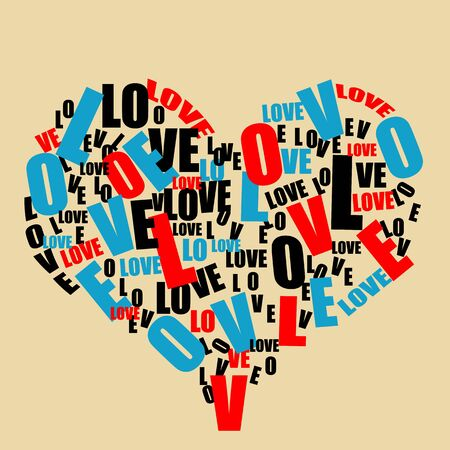 Typography retro love heart made from love word, vector illustration Stock Vector - 17590531