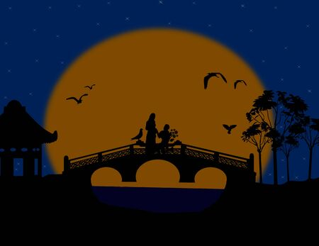 Asia at night landscape with lovers on the bridge, illustration Stock Vector - 17590532
