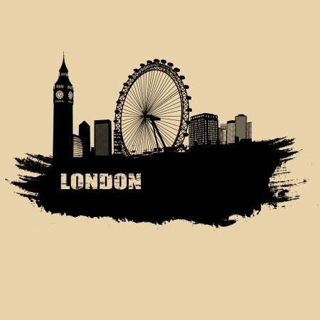 london skyline: Old paper with london landscape on vintage style grunge background, illustration Illustration