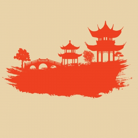 Old paper with asian landscape on vintage asian style grunge background, illustration Illustration