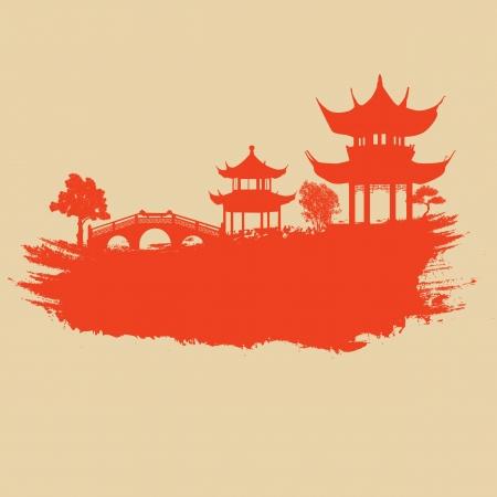 Oud papier met Aziatische landschap op vintage Aziatische stijl grunge achtergrond, illustratie