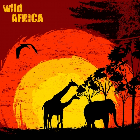 illustration of sunset in wild africa. Elephant and giraffes on grunge background Vector