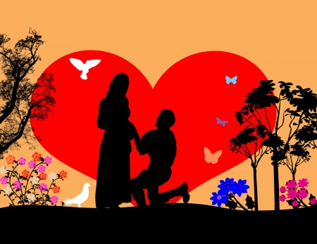 woo: A young man  kneel and woo the girl in beautiful landscape silhouette, illustration Illustration