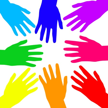 joined hands: Rainbow hands on white background, illustration Illustration