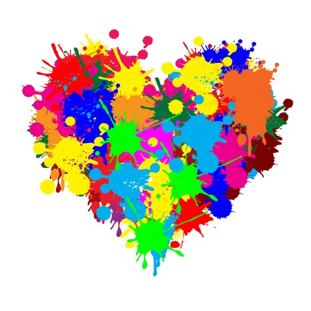 unusual valentine: Paint splatter heart on white background, illustration