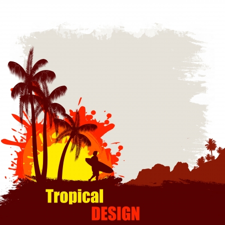 Tropical design grunge poster with man with a surfboard at sunset, vectot illuatration Vector