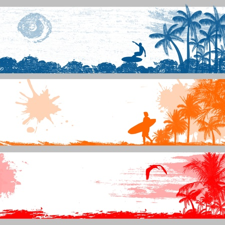 surf silhouettes: Grunge tropical summer banners design, vector illustration