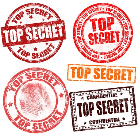 secret information: Top secret grunge stamp collection on white background, vector illustration