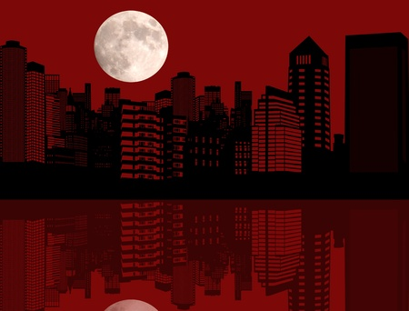 Illustration with red night city with reflection silhouette Stock Vector - 17697449