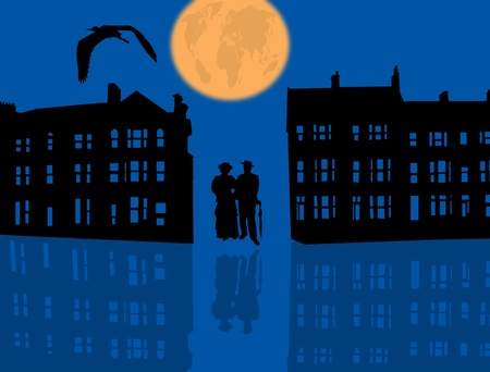 lake district: Illustration with blue night city with couple silhouette and reflection  Illustration
