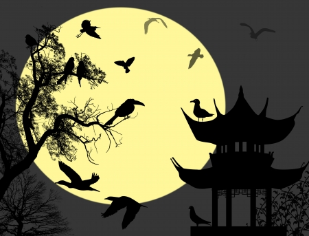 pavilion: Birds on  night landscape on a background of Japanese house, vector illustration