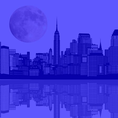 twilight: Illustration with blue night city with reflection silhouette