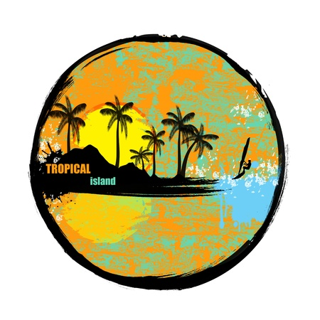 Tropical island grunge stamp on white background, vector illustration Stock Vector - 17697471