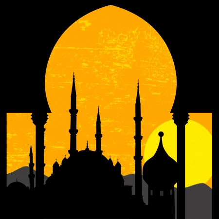 Grunge oriental sunset with mosque, vector illustration Vector