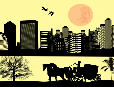 horse and cart: Two horse drawn carriage on the street at city landscape, vector illustration