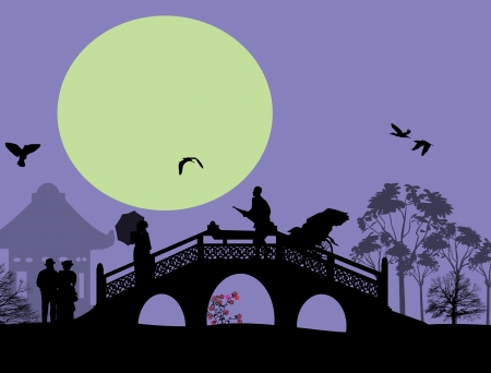Asia at blue landscape with people on the bridge, vector illustration Illustration