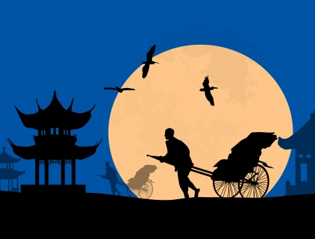 Chinese rickshaw in old Beijing at blue sunset, vector illustration Vector