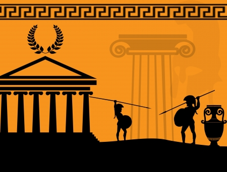 past civilizations: Two ancient greek warriors fighting on orange background, vector illustration