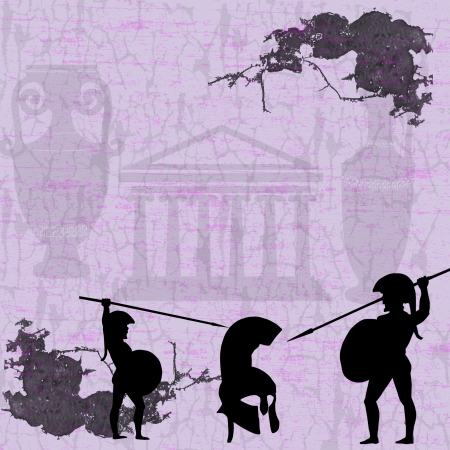 past civilizations: Two ancient greek warriors fighting on grunge background, vector illustration Illustration