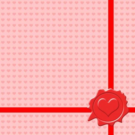 corazones: Background with Valentines sealing wax stamp, vector illustration