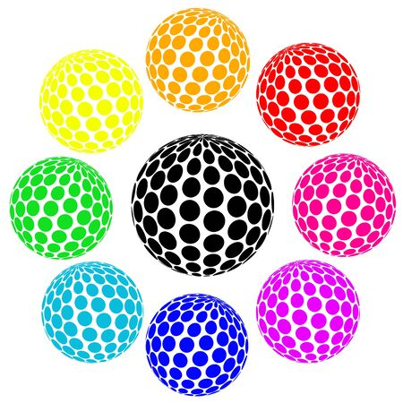 Set of rainbow colors sphere dot on white, vector illustration Stock Vector - 17807047
