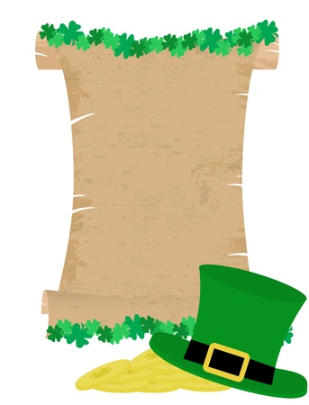 Saint Patrick s Day card with clove leaf and green hat Stock Vector - 17807048
