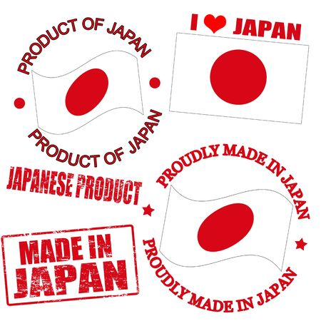 Set of stamps and labels with the text made in Japan written inside Vector