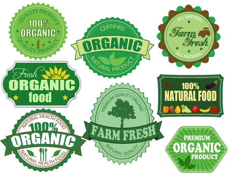 farmers market: Set of organic and farm fresh food badges and labels on white Illustration