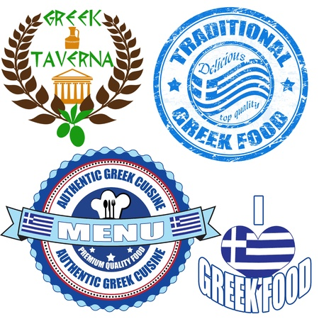 greek cuisine: Set of authentic greek food stamp and labels on white background