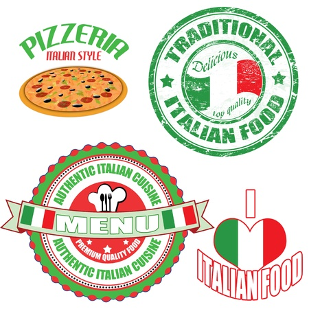 top menu: Set of authentic italian food stamp and labels on white background Illustration