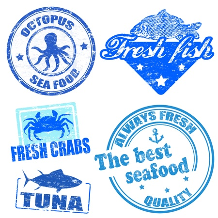 fresh seafood: Set of sea food grunge rubber stamps on white Illustration