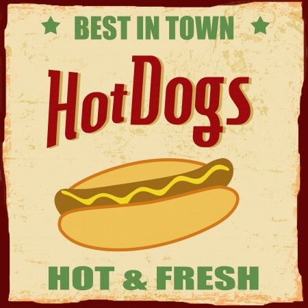 tin: Vintage Hot dog grunge poster background Illustration