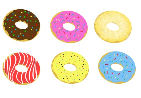 cake topping: Set of donuts on white background