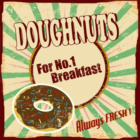 Doughnuts vintage grunge poster Stock Vector - 17959452