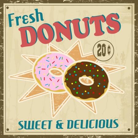 Donuts vintage grunge poster Stock Vector - 17959465