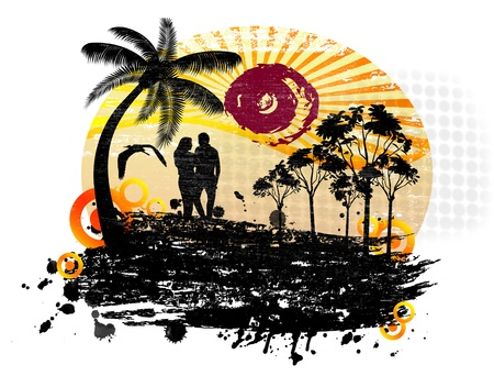 Lovers in a tropical landscape with palms on abstract background Stock Vector - 17959504
