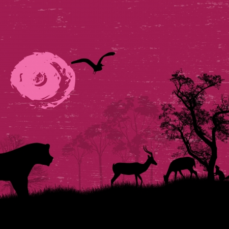 Africa   safari - silhouettes of wild animals on grunge landscape Stock Vector - 17959479