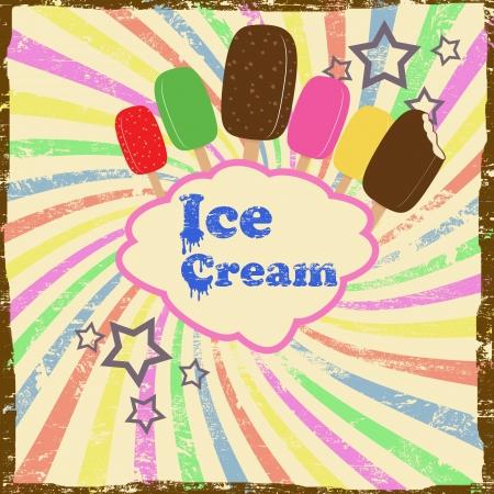 застекленный: Мороженое старинные гранж постер Иллюстрация