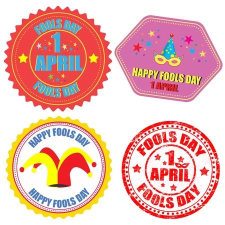 tonto: Conjunto de etiquetas y sello con el Día de los Inocentes de texto - un escrito en el interior de abril