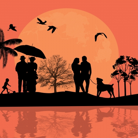 design background with beautiful landscape and people silhouette at sunset Vector
