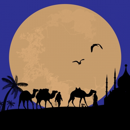 Bedouin camel caravan in wild africa landscape on sunset Stock Vector - 18002489