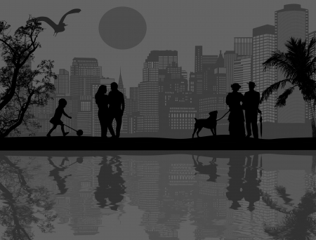 design background with beautiful landscape and people silhouette with reflection on water Vector