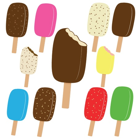 Set of various colorful ice creams on white background, vector illustration Vector
