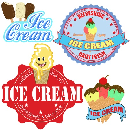 Set of  ice cream labels and icons on white background, vector illustration Stock Vector - 18024838