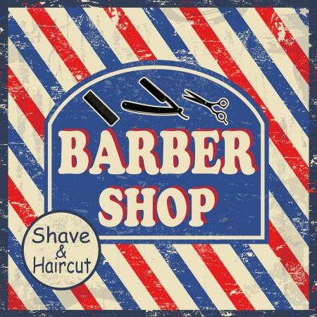 barber shop: Kapperszaak vintage grunge poster, vector illustrator Stock Illustratie