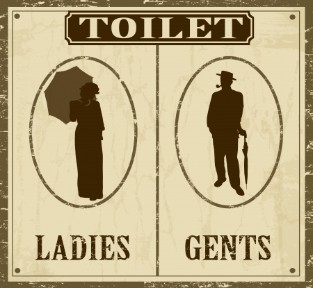 man and women wc sign: Toilet retro vintage grunge poster, vector illustrator