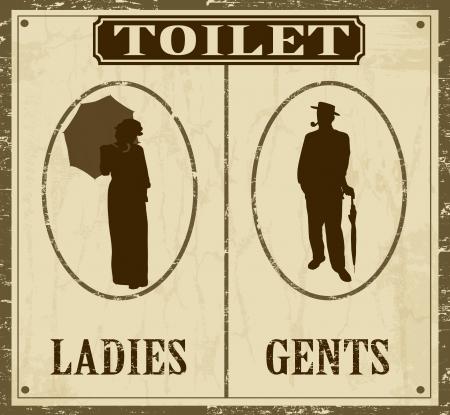 inodoro: WC cartel retro vintage grunge, vector ilustrador