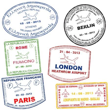 útlevél: Útlevél grunge bélyegek Athén, Róma, Párizs, Berlin, London és Madrid, vektoros illusztráció