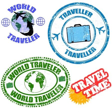 reiziger: Set van wereldreiziger grunge rubberen stempels op wit, vector illustratie