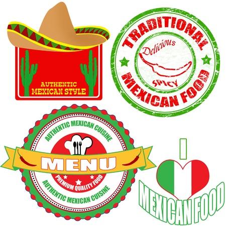 bandera mexicana: Conjunto de sello de auténtica comida mexicana y etiquetas en el fondo blanco, ilustración vectorial Vectores